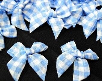 BATCH 6 fabric APPLIQUES: 35mm blue/white gingham bowtie