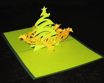 Christmas tree card 3D Holly Garland