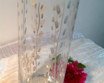 Large cylindrical clear glass vase handpainted stylized mother of Pearl and silver foliage pattern