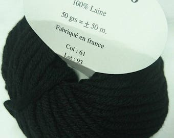 knit - wool / set of 10 balls pure wool 8 / black / made in FRANCE