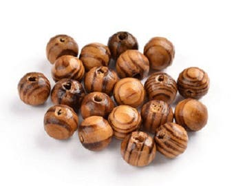 200 round striated nine 10 mm natural wooden beads