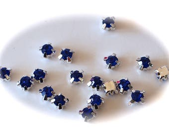 10 RHINESTONE SERTIS sapphire blue glass and metal