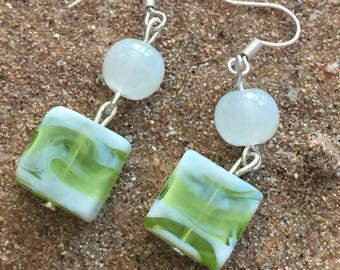 Square green and white glass Pearl Earrings