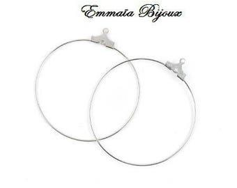 2 silver metal 25 mm hoop
