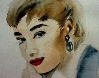 watercolor, audrey, a beautiful actress