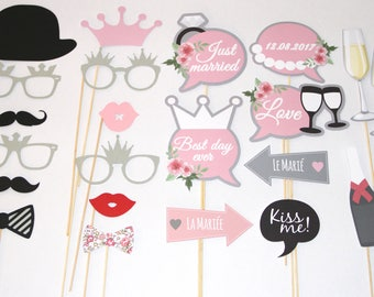 lot 22 accessoires photobooth mariage personnalisable