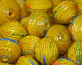"""""""Corn"""" handmade paper beads, unique designs."""