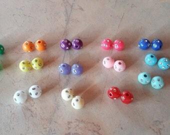 Acrylic beads with 8 mm rhinestones