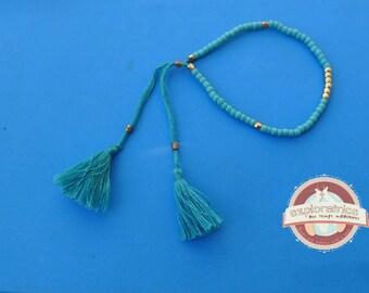 Turquoise adjustable bracelet and gold ethnic