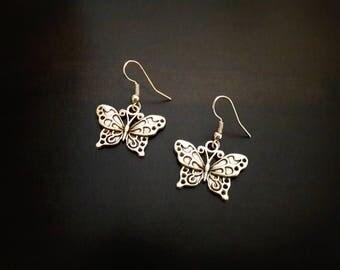 Butterflies, antique silver metal earrings