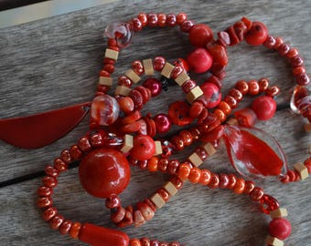 """Necklace ethnic """"red coral tagua"""" with slice of tagua, coral chips, Lampwork beads, lampwork Ladybug beads"""