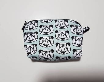 """Wallet trendy and stylish fabric """"pandas"""", 11 cm x 8 cm x 3 cm at the base"""