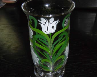 Hand painted glass vase. Art Nouveau pattern.