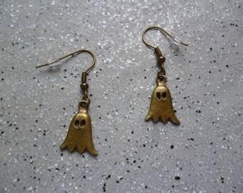 Ghost metal bronze earrings