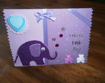 "A birthday card ""welcome little boy"", my little elephant"
