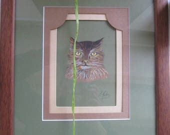 Cat painted in watercolor on paper