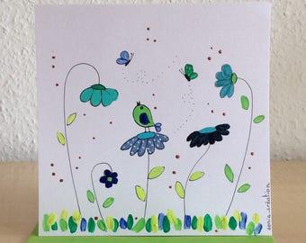 Birthday - handpainted - flower card - romantic card card card