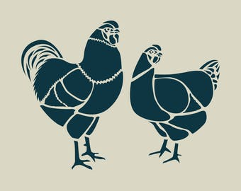 Adhesive vinyl stencil. Rooster and hen. Houndstooth stencil. Stenciled Rooster (ref 66)