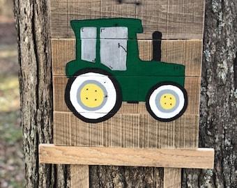 Birth announcement door hanger with tractor from pallet wood.