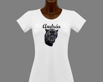 T-shirt women White Black Panther personalized with name
