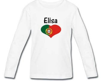 Girl long sleeve personalized with name Portugal t-shirt