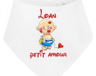 Little love personalized with name baby bandana bib
