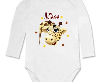 Baby giraffe personalized with name Bodysuit