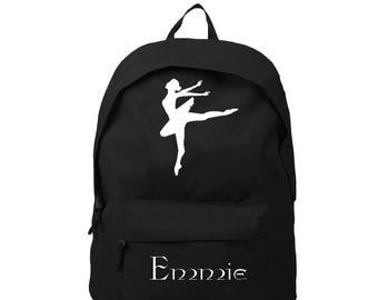 sac a dos noir Danseuse  personnalisé avec prénom