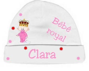 Baby white royal baby Hat personalized with name