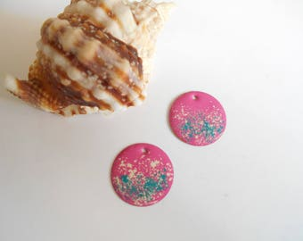 2 sequins pink turquoise ivory