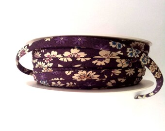 1 meter of beige floral plum spaghetti - 7 mm - Frou-Frou cord