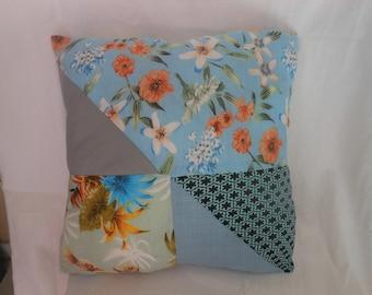Blue patchwork cushion