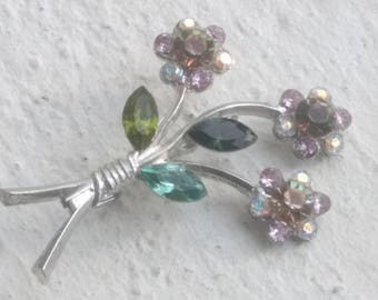 Brooch - Three flowers Swarovski Vitrail crystals