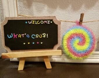 Crocheted Dish Scrubbies - Circle/Love