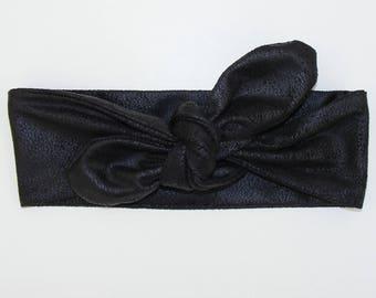 Headband / suede effect soft black Crackle leather headband