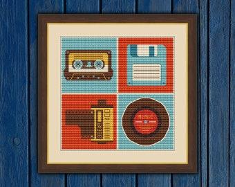 Retro Media Collage(mini) - cross stitch pattern PDF | Vintage cross stitch | Retro cross stitch | Сassette, Film, Floppy disk, Music plate