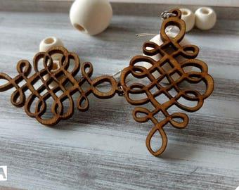 Wood earrings hanmade, wallnut jewelry