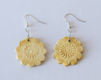 Ceramic yellow enamel Flower Earrings