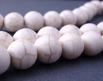 5 round 12 mm - Brown white ribbed (PG0303) synthetic howlite beads