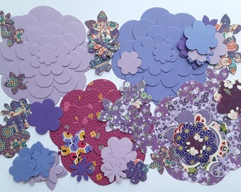 100 cuts vary in shades of purple paper flowers