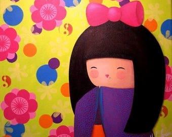 "KOKESHI - Acrylic painting on canvas ""Yoko, pop series"""