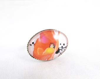 """Adjustable ring """"Poppy"""" with top horizontal"""