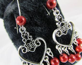Earrings hearts and red magic pearls