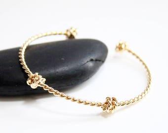Gold twisted Bangle Bracelet