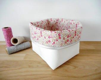 Panier de rangement petit modèle en simili cuir blanc et tissu Liberty Eloïse rose imprimé petites fleurs - bord pailleté argent - pochon