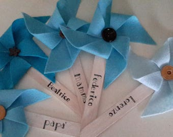 Pinwheels in felt with button. Party favors. Thank you gifts for a party. Accessories.