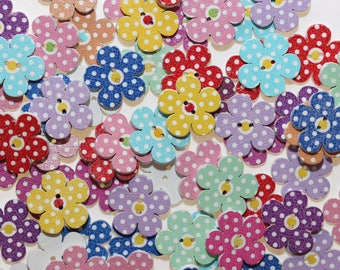Wooden button in the shape of Fleur 20 mm with 2 holes - set of 10 mixed - 2578
