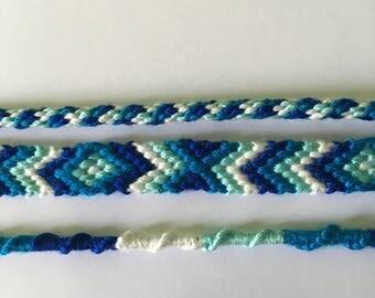Set of blue and white bracelet