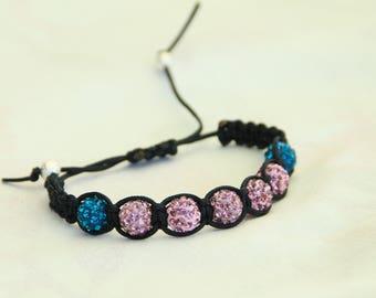 Black shambala bracelet with purple and Blue shiny beads