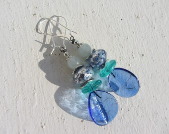 Elegant dangle earrings in shades of blue, blue glass, Czech glass and stone in blue, turquoise and silver leaf